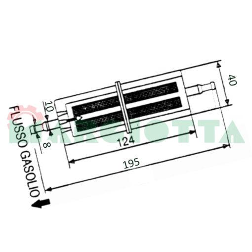 Pre filtro gasolio schema con misure 11266