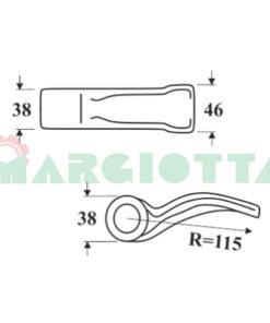 Mazza per trincia , diametro foro 16,5 larghezza attacco superiore 38 larghezza taglio lama 46 raggio 115