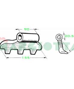 Mazza per trincia , diametro foro 20,5 larghezza attacco superiore 90 larghezza taglio lama 155 raggio 110